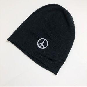 Alternative Black Knit Peace Slouch Hat